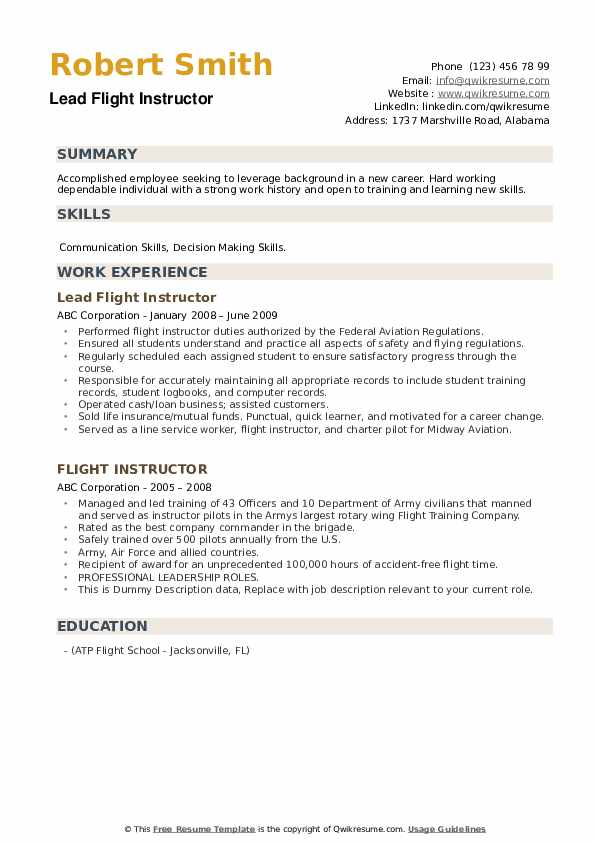 flight instructor resume samples qwikresume pdf standard format for freshers simple cover Resume Flight Instructor Resume