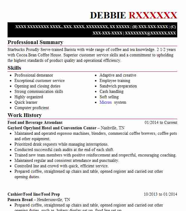 food and beverage attendant resume example resumes misc livecareer format for service Resume Resume Format For Food And Beverage Service