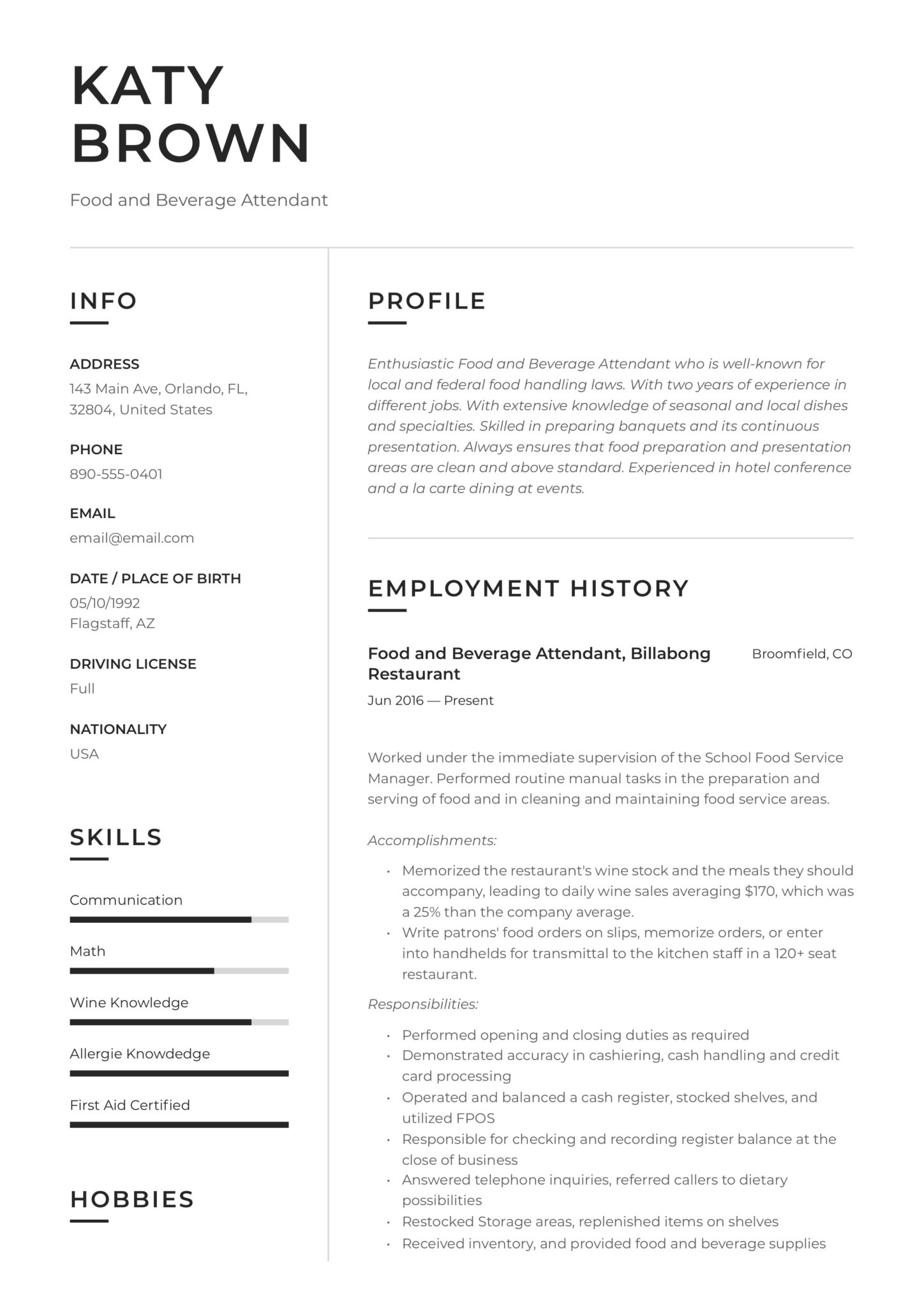 food and beverage attendant resume examples word pdf best format for hospitality industry Resume Best Resume Format For Hospitality Industry