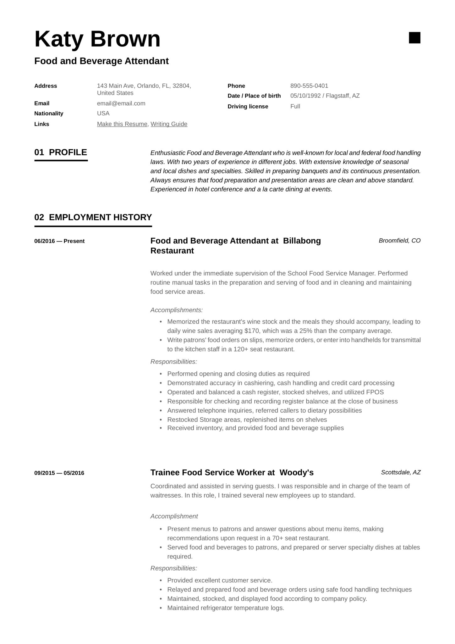 food and beverage attendant resume examples word pdf format for service scaled example of Resume Resume Format For Food And Beverage Service
