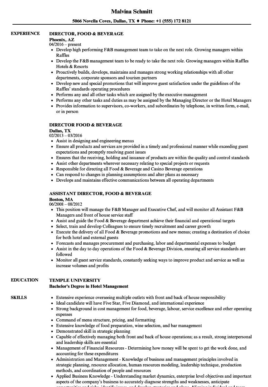 food and beverage manager resume incredible director samples of examples project job Resume Beverage Manager Resume