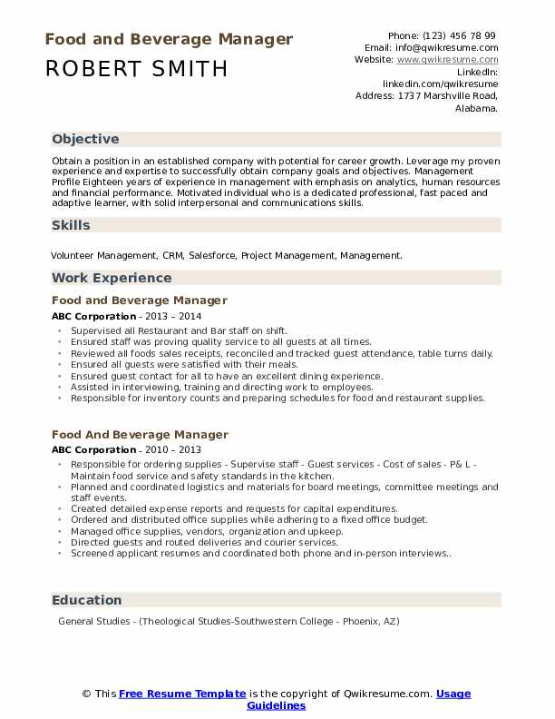 food and beverage manager resume samples qwikresume pdf runner objective suggestions for Resume Beverage Manager Resume