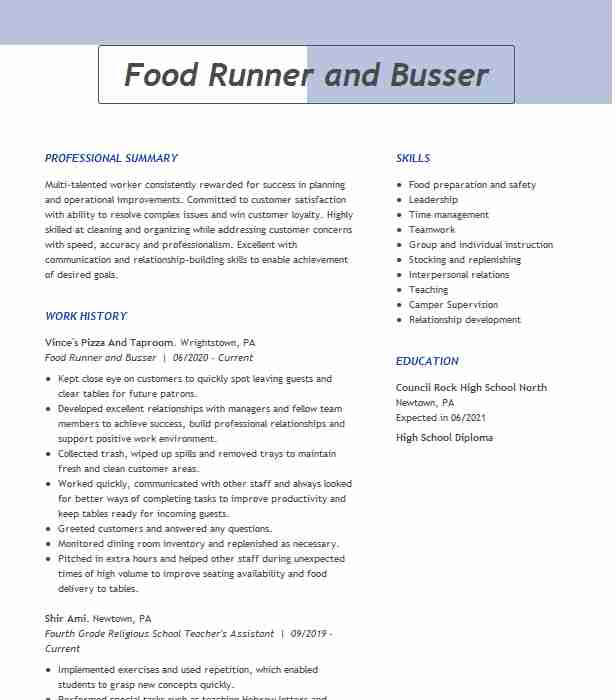 food runner expo busser resume example daiquari deck file clerk sample entity framework Resume Busser Food Runner Resume
