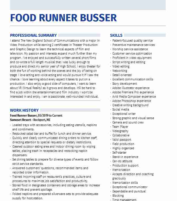 food runner expo busser resume example daiquari deck first time job for high school Resume Busser Food Runner Resume