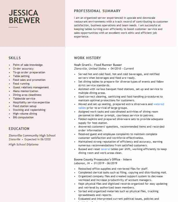 food runner expo busser resume example daiquari deck high school student for internship Resume Busser Food Runner Resume