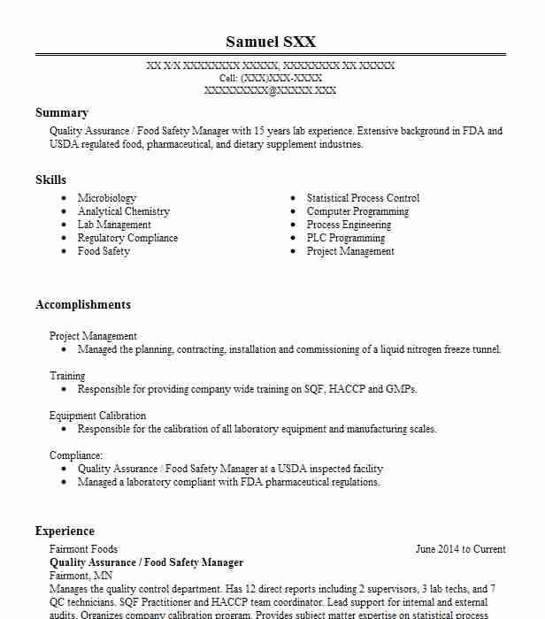 food safety and quality assurance manager resume example plastipak packaging inc posen Resume Food Safety Specialist Resume