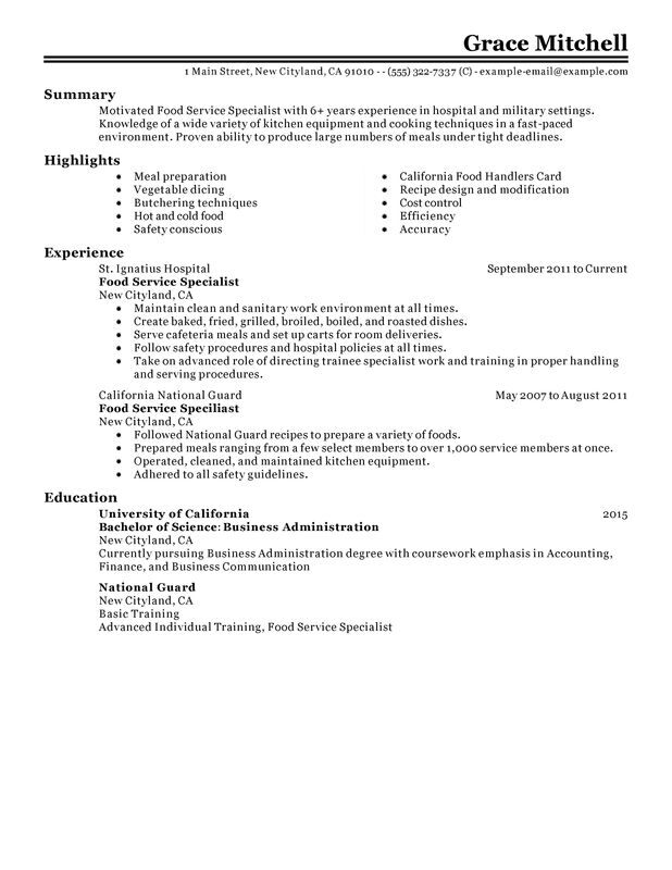 food service specialist resume examples created by pros myperfectresume safety customer Resume Food Safety Specialist Resume