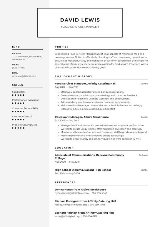 food services manager resume examples writing tips free guide io format for and beverage Resume Resume Format For Food And Beverage Service