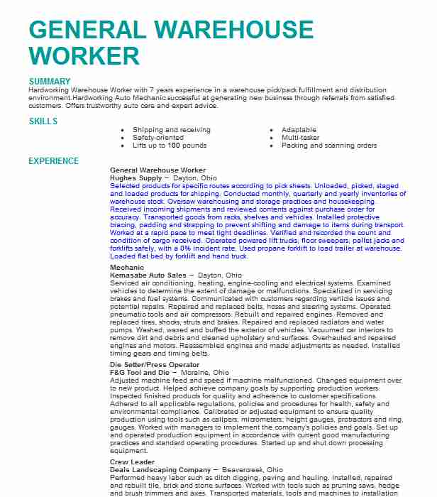 for warehouse duties resume format summary worker project analyst ob gyn skills acting Resume Resume Summary For Warehouse Worker