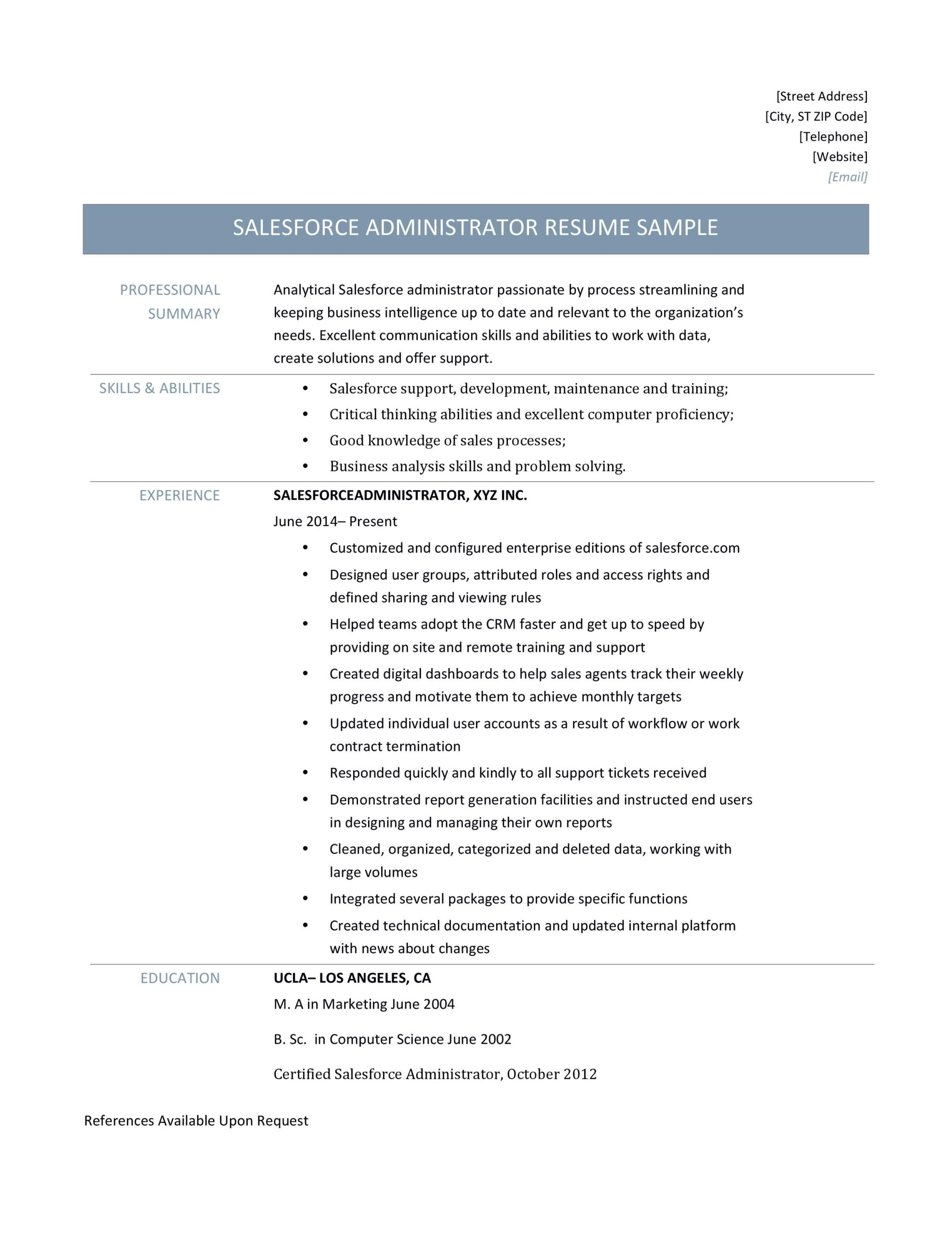 force administrator resume template salesforce examples sample for dashboard genius Resume Sample Resume For Salesforce Administrator