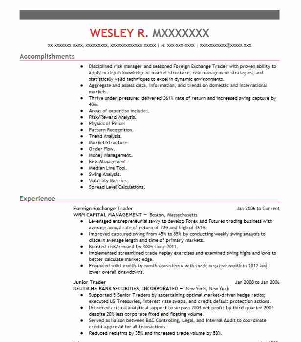 foreign exchange trader resume example livecareer stock market construction laborer job Resume Stock Market Trader Resume