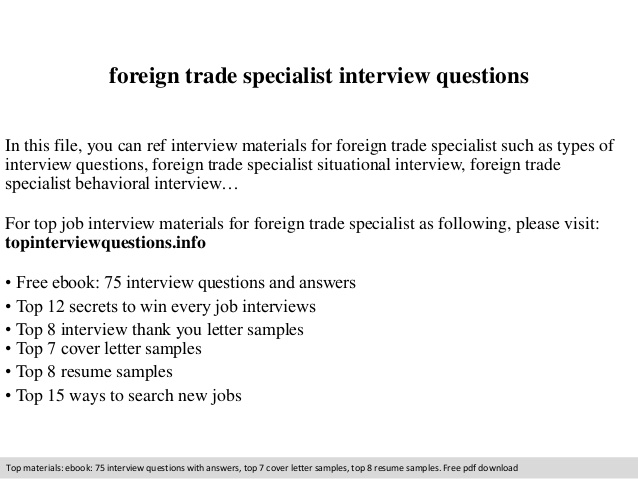 foreign trade specialist interview questions international resume sample food prep duties Resume International Trade Specialist Resume Sample
