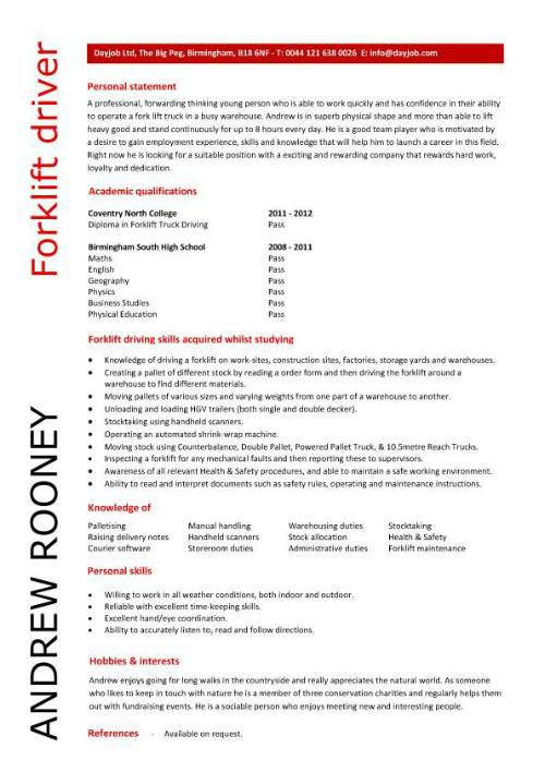 forklift driver resume template example operator summary for pic medical examples word Resume Forklift Operator Summary For Resume