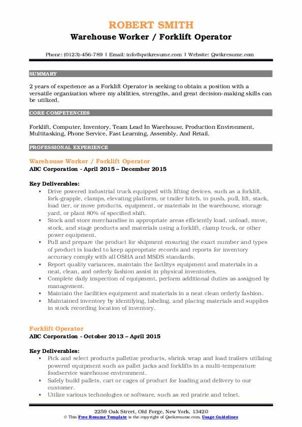 forklift operator resume samples qwikresume summary for pdf zety reviews google examples Resume Forklift Operator Summary For Resume