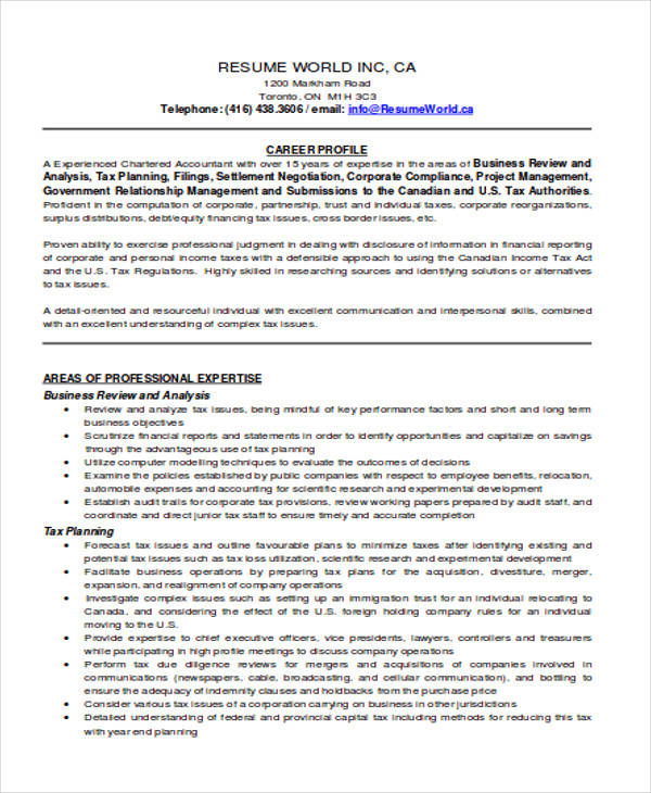 free accountant resume samples in ms word of experienced chartered professional Resume Resume Of Experienced Chartered Accountant