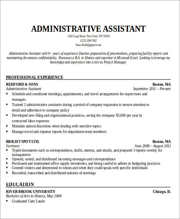 free administrative assistant resume objectives in ms word pdf admin objective sample Resume Admin Assistant Objective Resume Sample