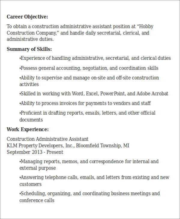 free administrative assistant resume objectives in ms word pdf for clerical position Resume Resume For Administrative Clerical Position