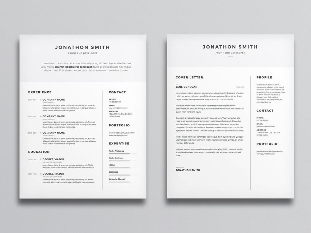 free clean and minimal resume cv template with cover letter in photosh creativebooster Resume Minimalist Resume Design