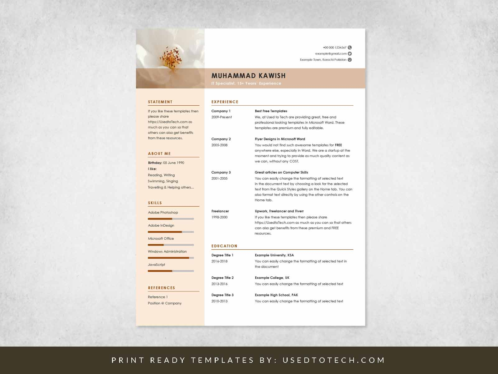 free clean and minimalist cv template in word used to tech resume school experience for Resume Minimalist Word Resume Template