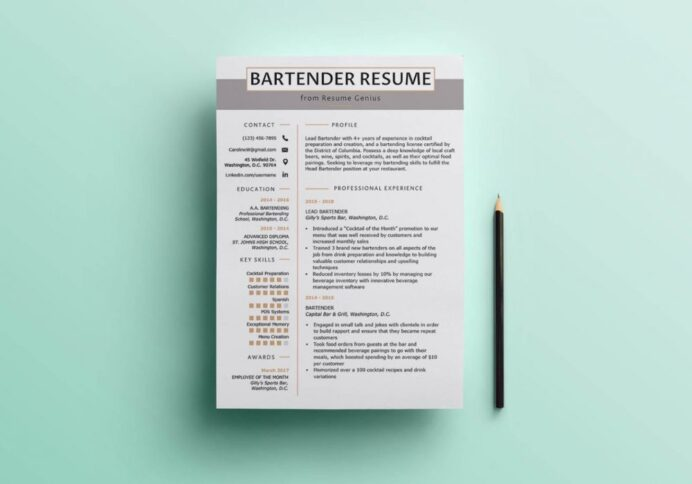 free clean resume template in word maxresumes templates bartender cv 1000x700 thank you Resume Free Resume Templates Word 2020