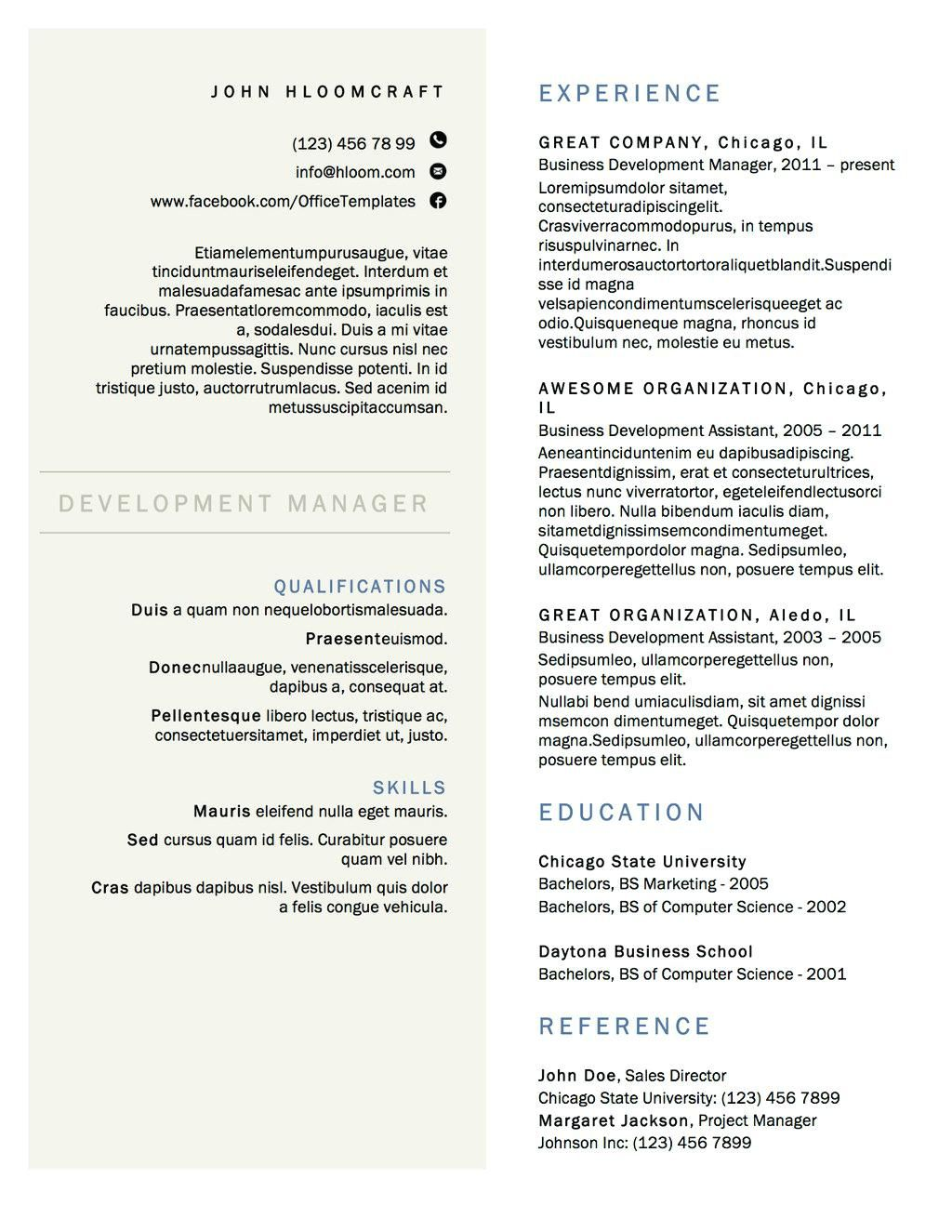 free column resume templates examples design template sample pharmacy technician medical Resume Resume 2 Column Template