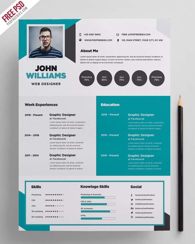 free creative resume template psdfreebies templates photoshop entry level warehouse Resume Photoshop Resume Template