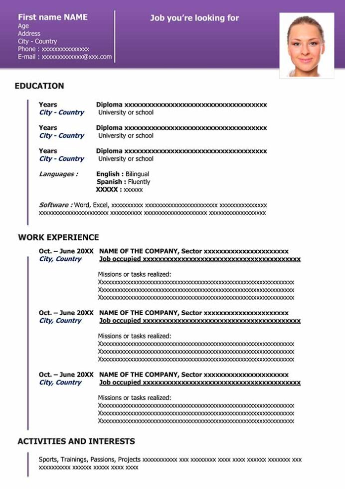 free downloadable resume template in word cv organized purple professional services Resume Resume Template Download 2020