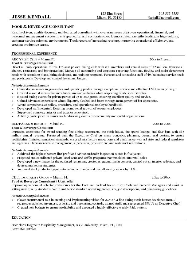 free food and beverage consultant resume example format for service microsoft word jk Resume Resume Format For Food And Beverage Service