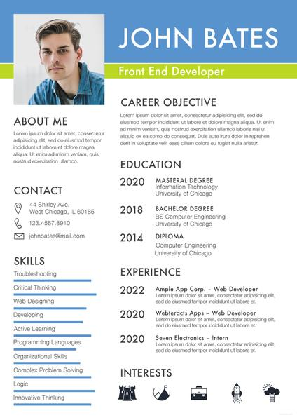 free front end developer resume cv template in photoshop and mi creativebooster engineer Resume Front End Engineer Resume Examples