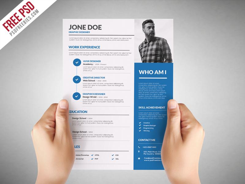 free graphic designer cv resume template in photoshop format creativebooster basic for Resume Photoshop Resume Template