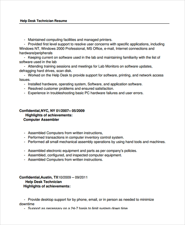 free help desk technician resume templates in pdf ms word support computer cath lab Resume Help Desk Support Resume