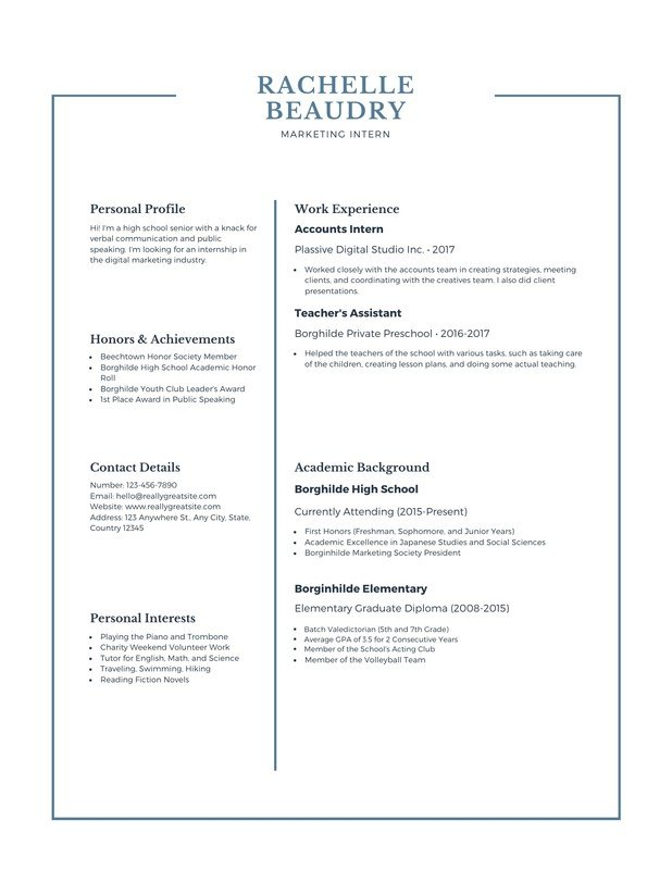 free high school resumes templates to customize canva resume profile blue simple vhygkvsx Resume High School Resume Profile