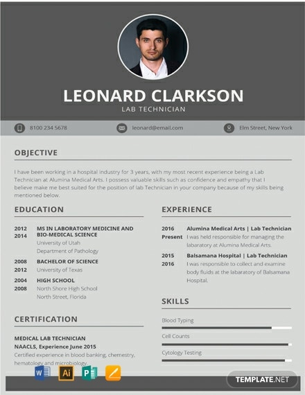 free lab technician resume cv template word apple mac illustrator publisher medical Resume Medical Lab Technician Resume Download
