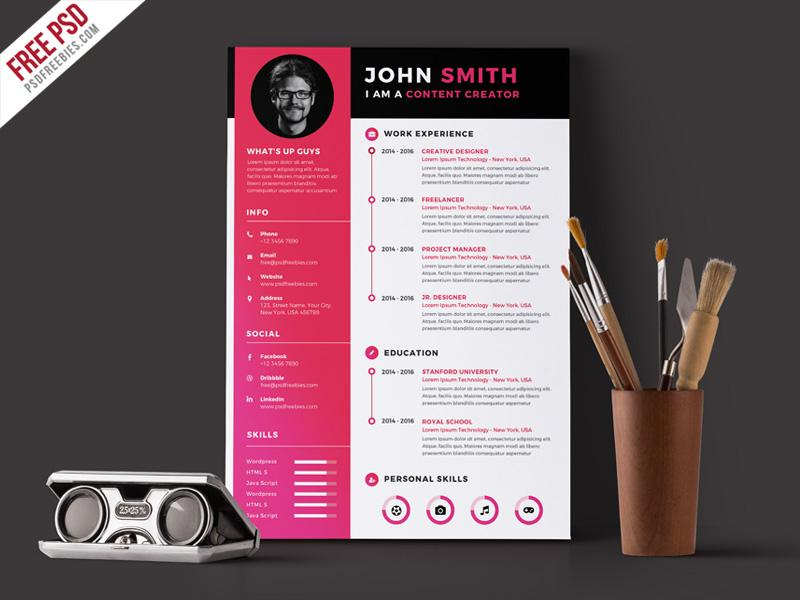 free modern simple cv resume template in photoshop format creativebooster senior program Resume Modern Simple Resume Template