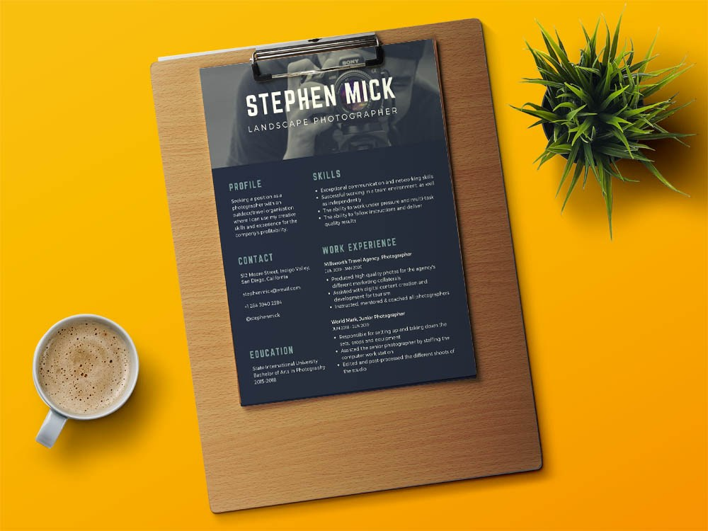 free photographer resume template with modern design recommended format medical office Resume Photographer Resume Template