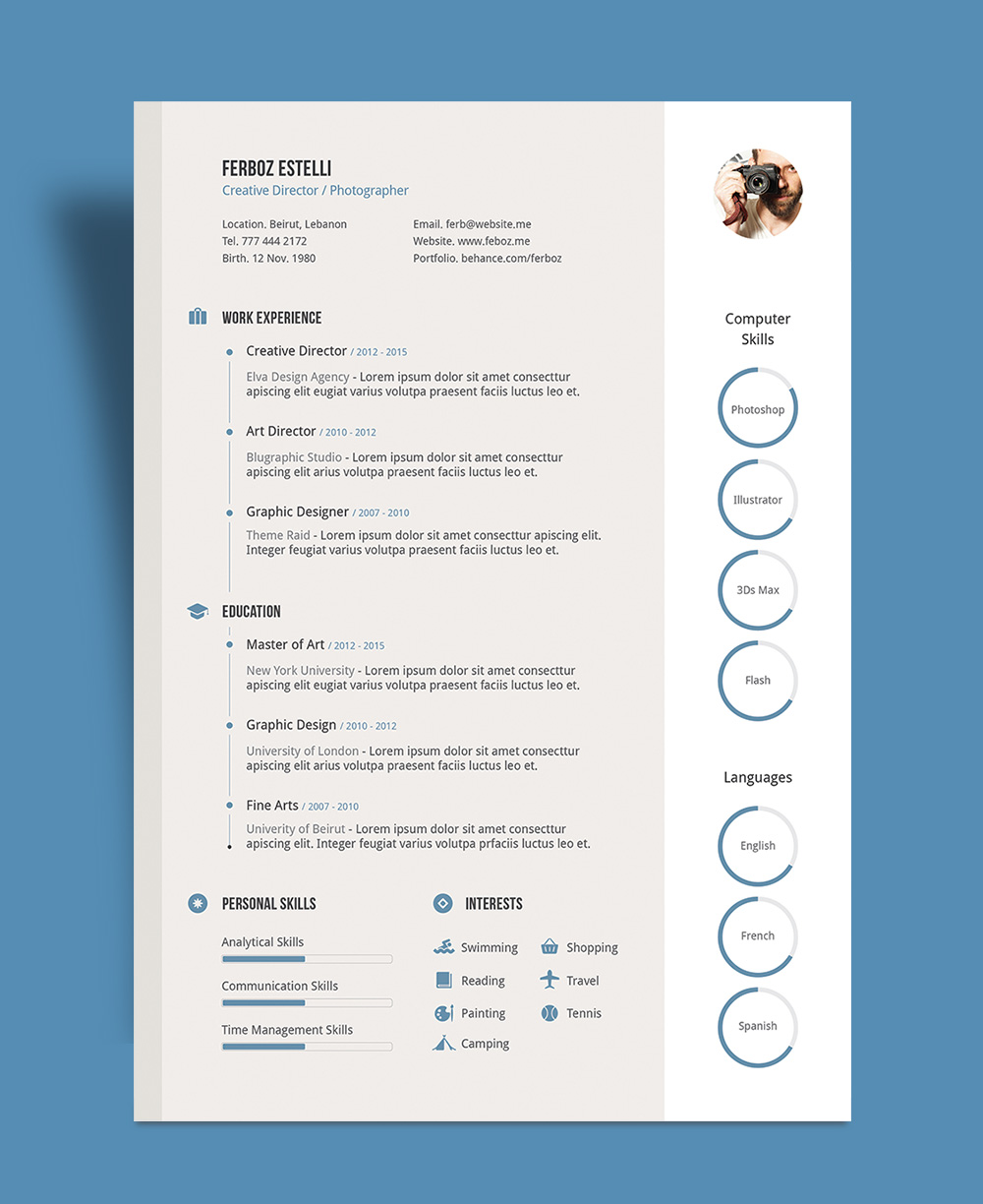 free professional resume cv template with cover letter portfolio in for graphic designer Resume Professional Resume Portfolio