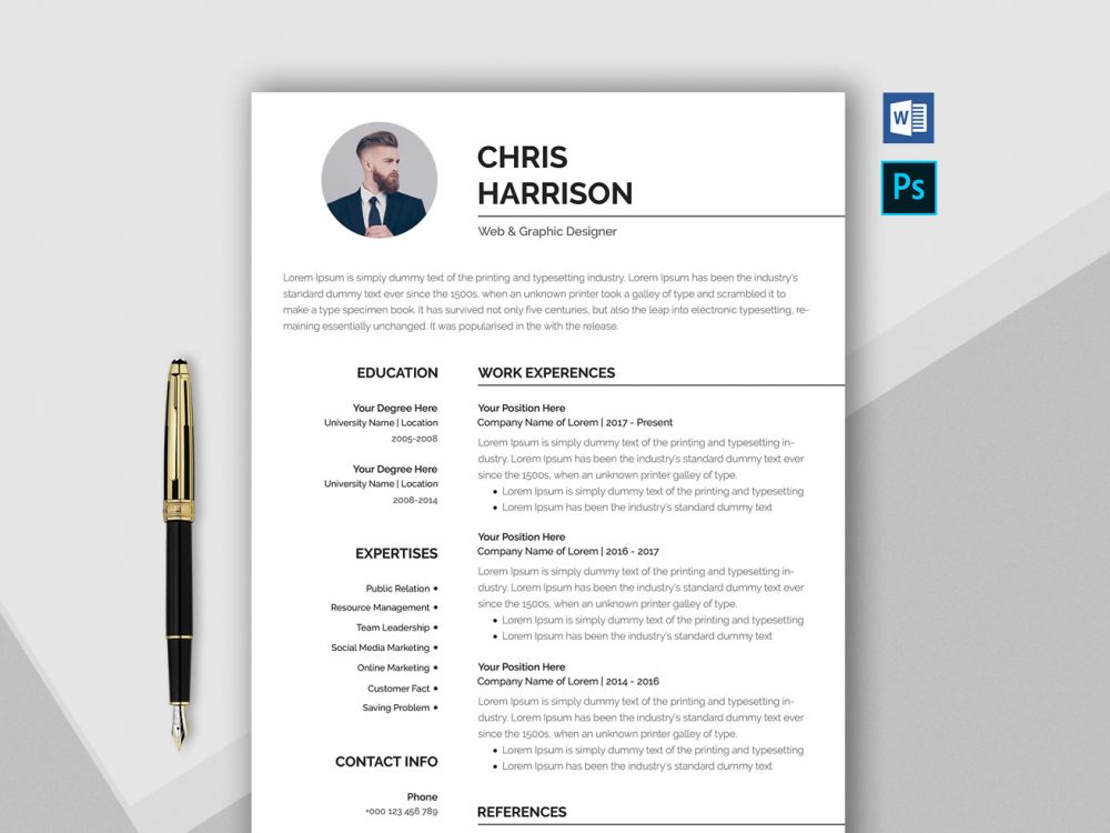free professional resume template in word format resumekraft nice templates cv 1000x750 Resume Nice Resume Templates Word
