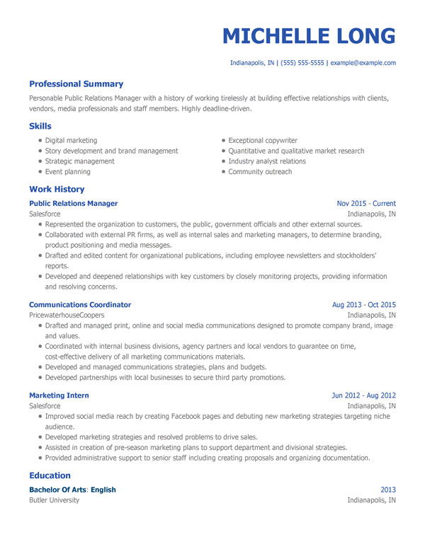 free professional resume templates for my perfect business example modern pr manager Resume Business Resume Example