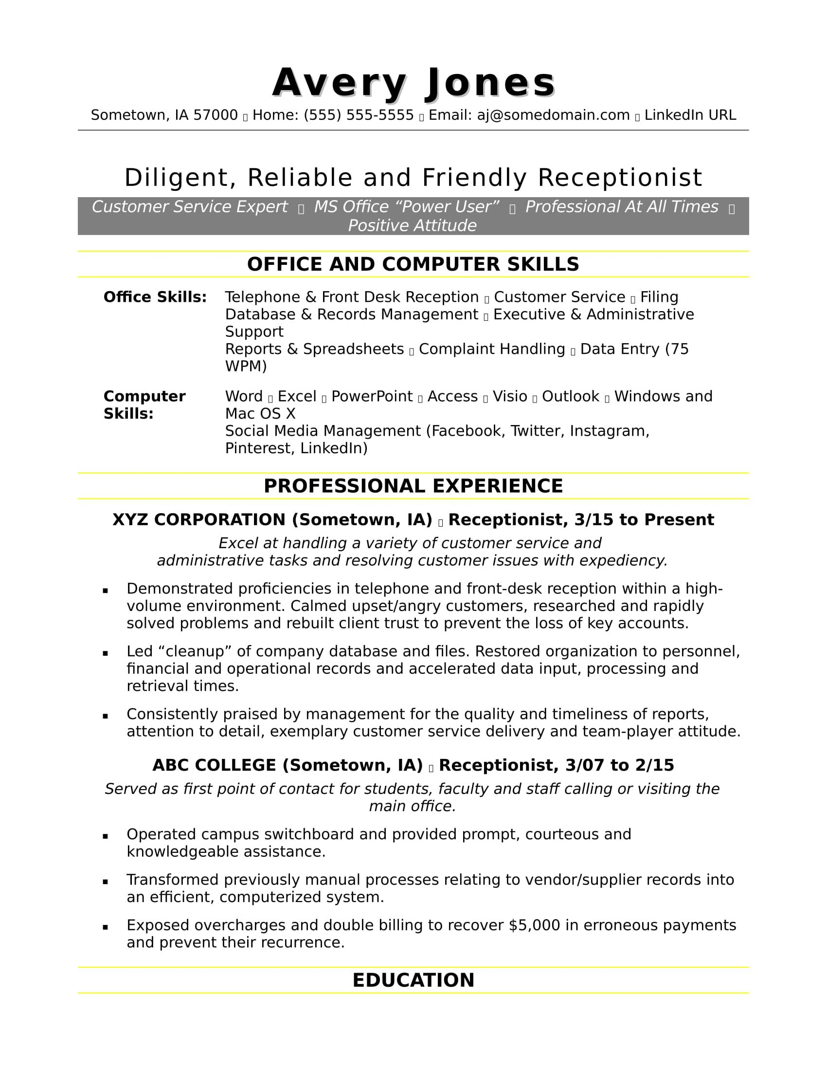 free receptionist resume sample examples skills jobs paragraph for senior financial Resume Skills Paragraph For Resume