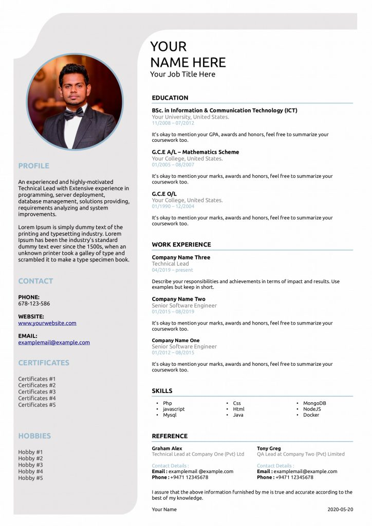 free resume archives gihan dilanka libreoffice template single cv 724x1024 dynamic Resume Libreoffice Resume Template