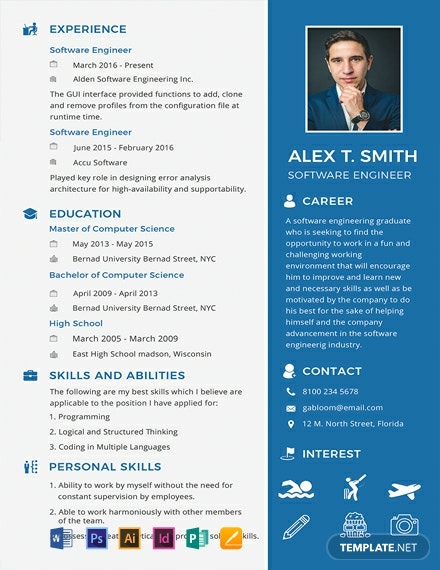 free resume cv for software engineer fresher template word indesign apple mac illustrator Resume Resume Software Download