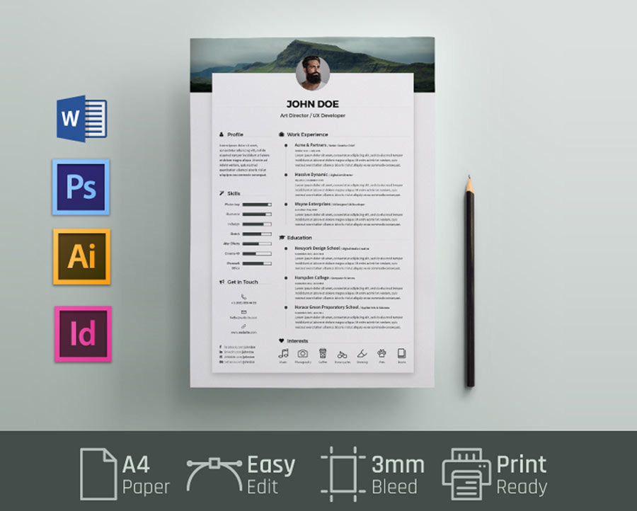 free resume cv template with word format resumekraft photoshop ms dispatcher examples for Resume Photoshop Resume Template