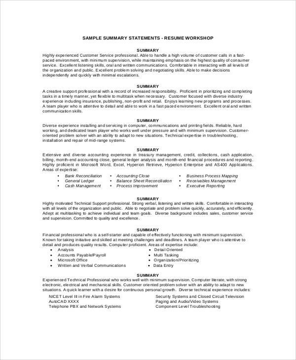 free resume summary samples in pdf ms word general for statement example endorsement high Resume General Summary For Resume