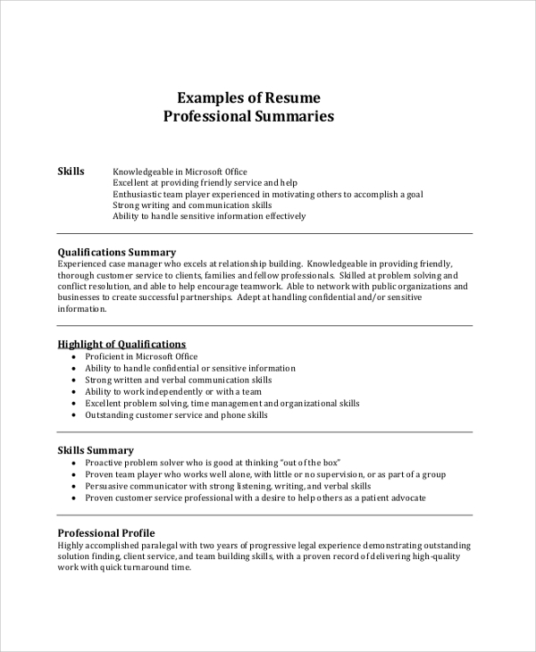 free resume summary samples in pdf ms word profile examples professional example Resume Resume Profile Summary Examples