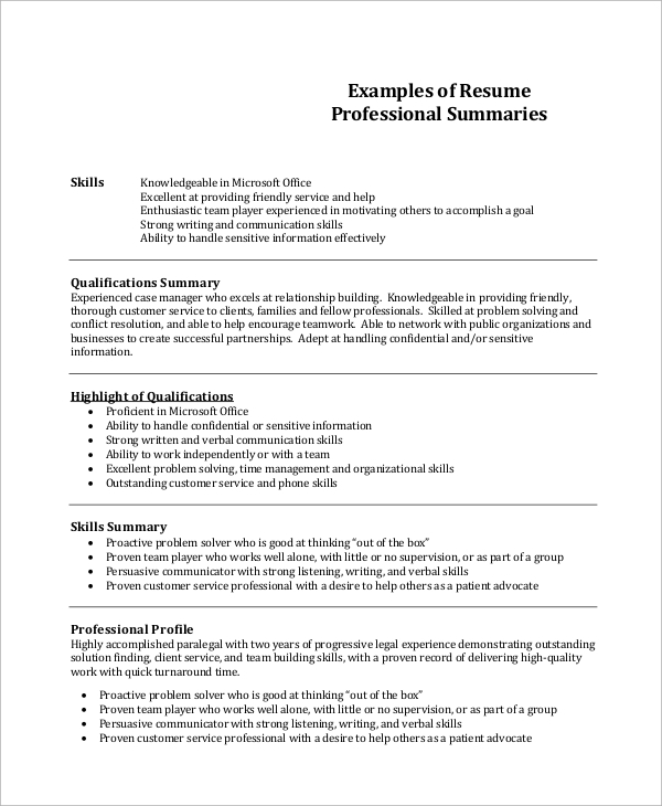 free resume summary templates in pdf ms word profile examples professional example1 Resume Resume Profile Summary Examples