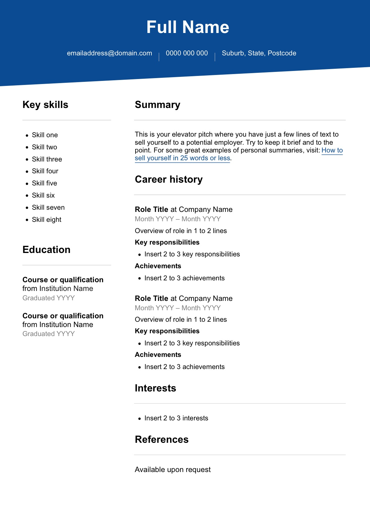 free resume template seek career advice writing australian style examples preview Resume Resume Writing Australian Style Examples