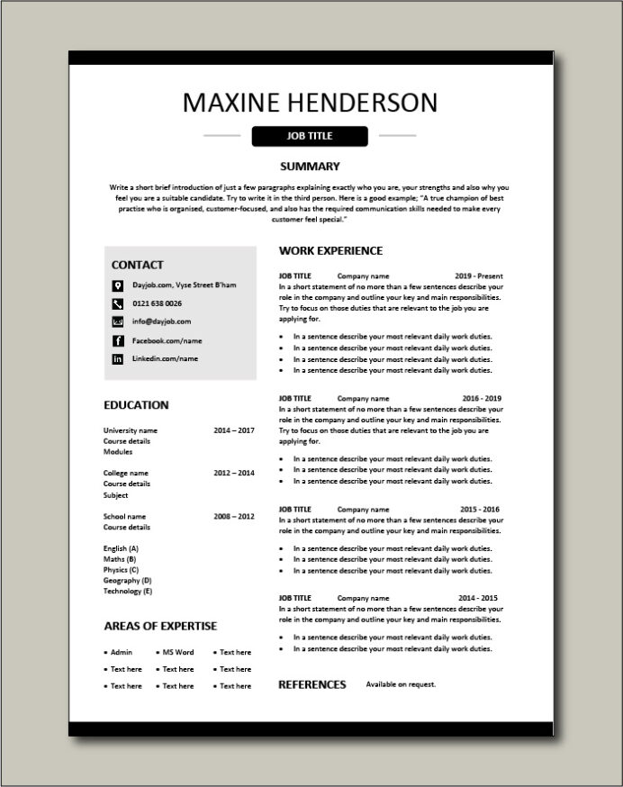 free resume templates examples samples cv format builder job application skills skill set Resume Skill Set Resume Template