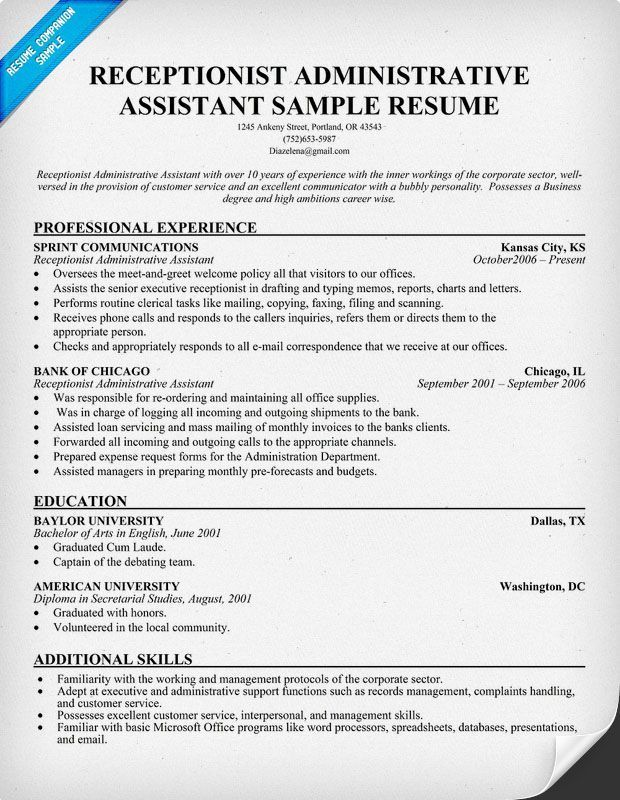 free resume templates for receptionist position administrative assistant medical sample Resume Administrative Receptionist Resume