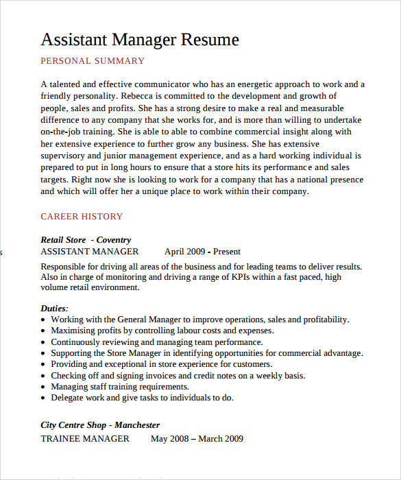 free sample assistant manager resume templates in pdf format for quality college Resume Resume Format For Assistant Manager Quality