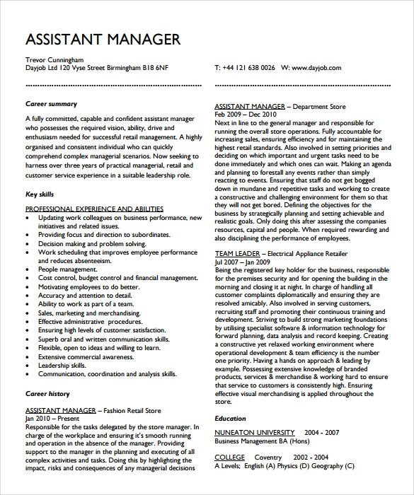 free sample assistant manager resume templates in pdf format for quality dispute Resume Resume Format For Assistant Manager Quality